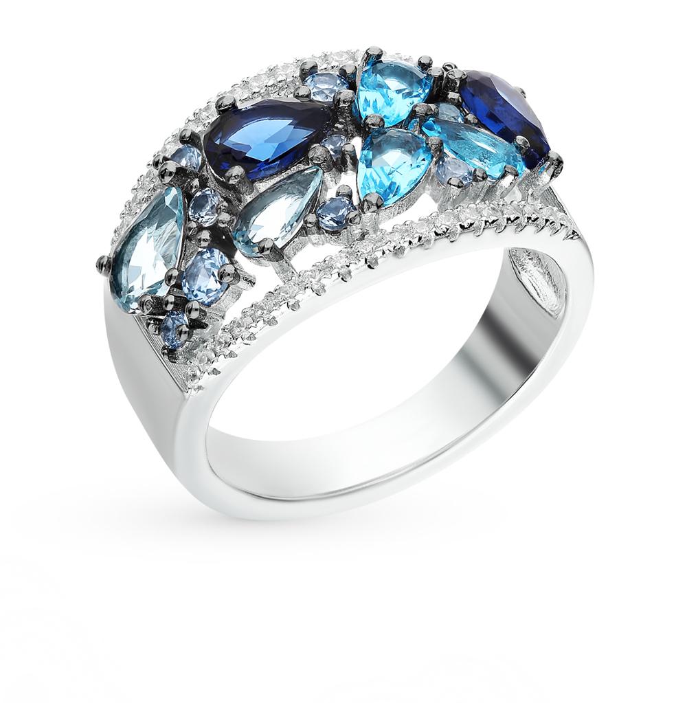 серебряное кольцо со шпинелью, фианитами и кубическими циркониями