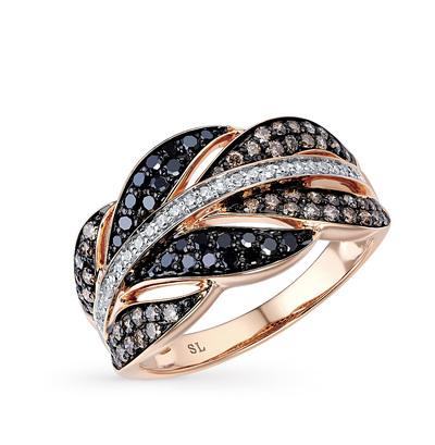 Золотое кольцо с бриллиантами чёрными и бриллиантами в Екатеринбурге