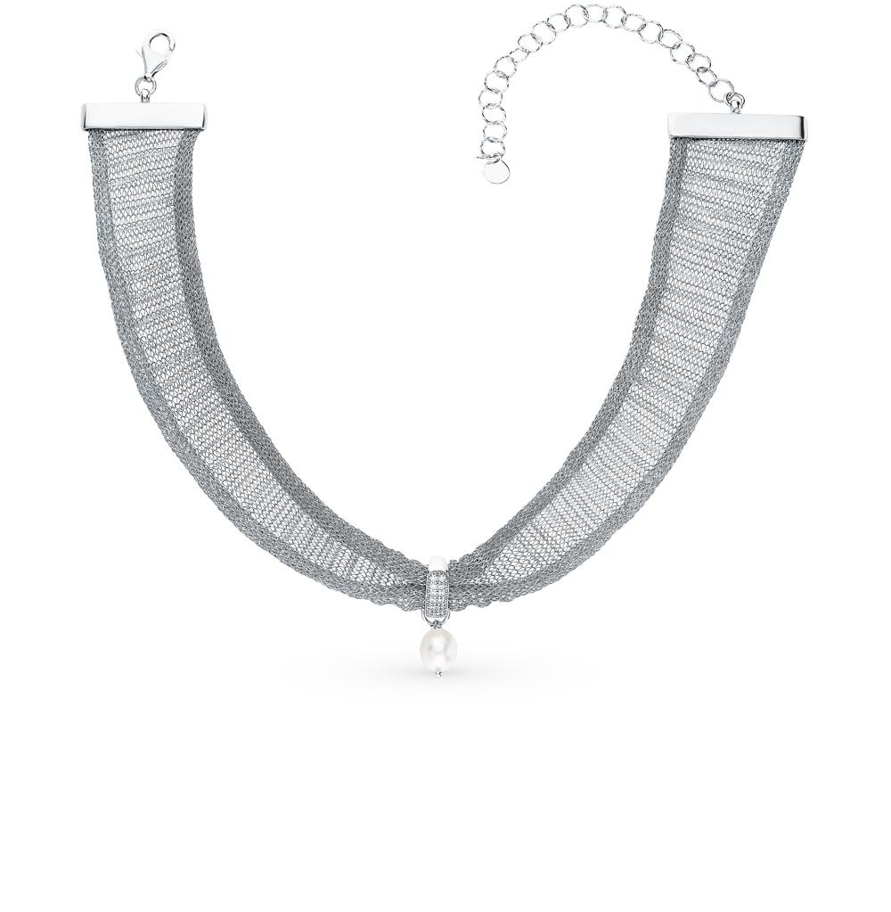 Серебряное шейное украшение с фианитами и жемчугом в Санкт-Петербурге