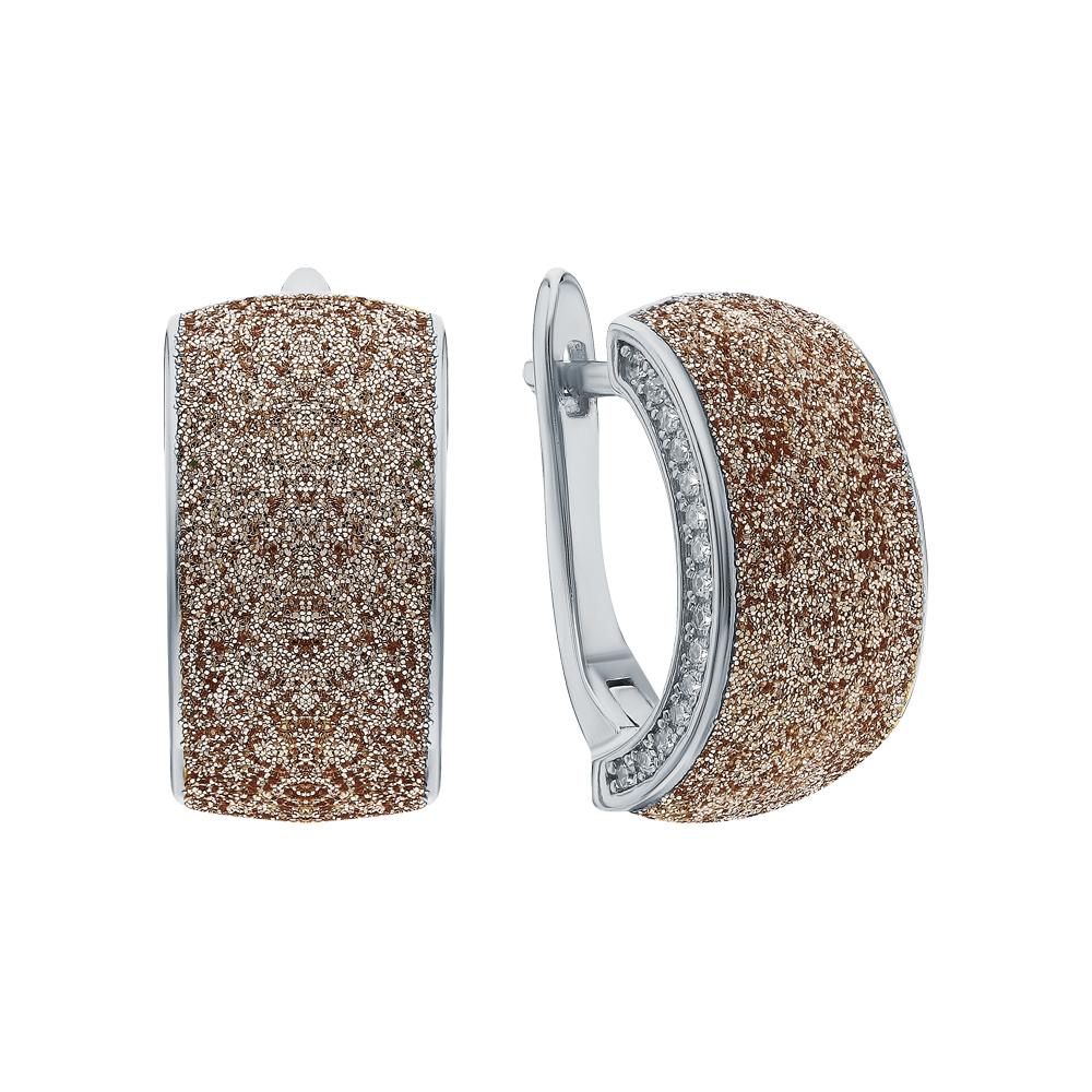 Фото «Серебряные серьги с глиттерами и кубическим цирконием»