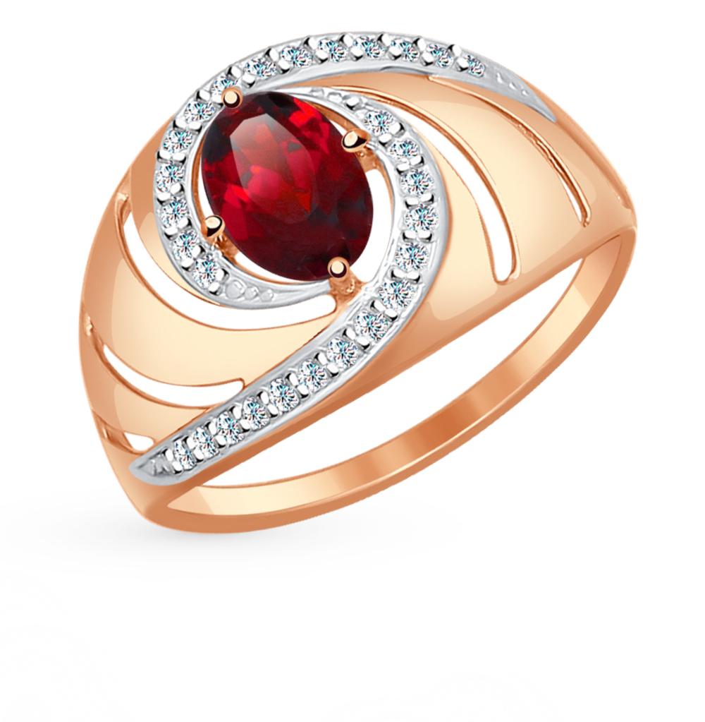 золотое кольцо с фианитами и гранатом SOKOLOV 714495*