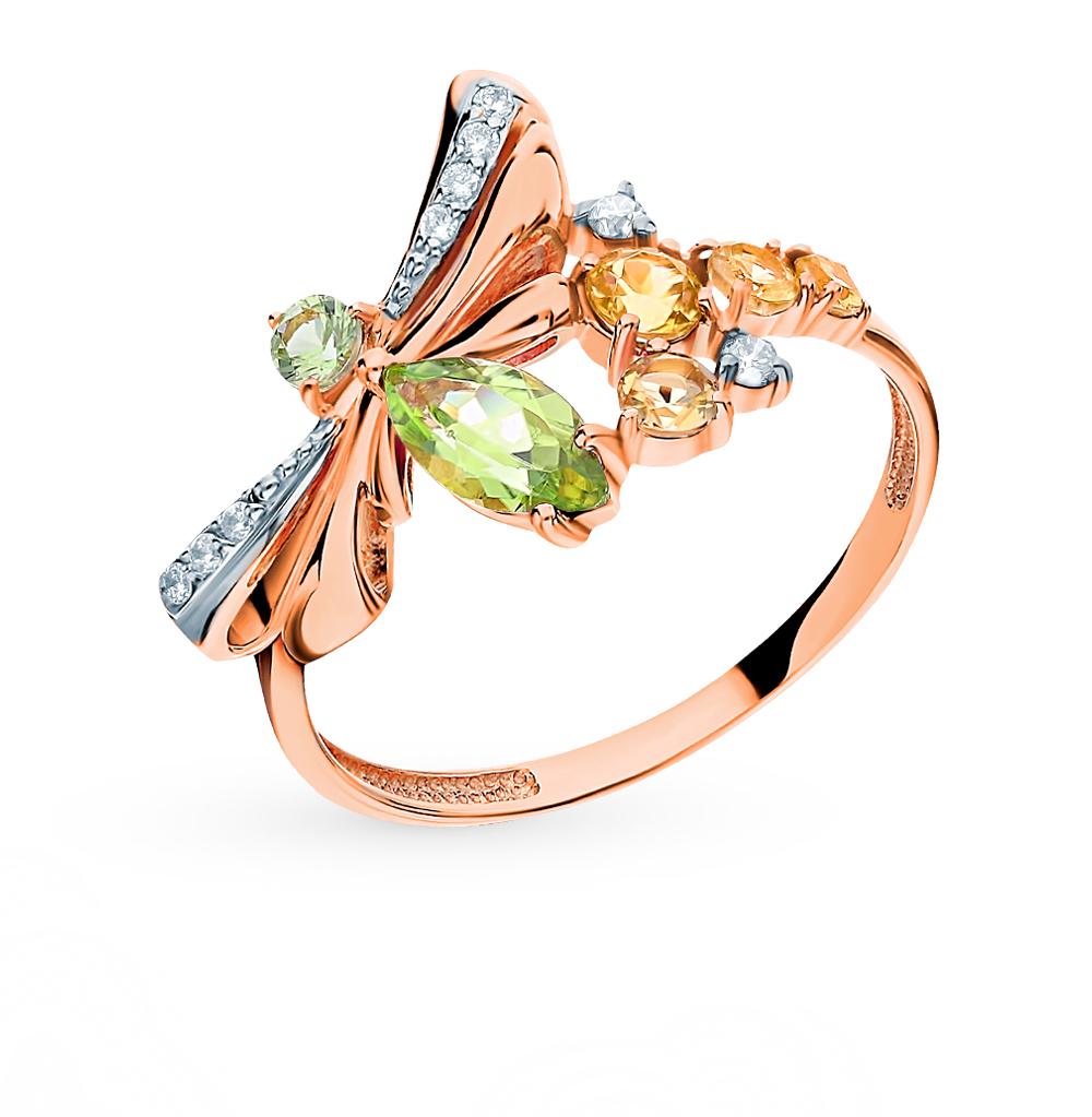Фото «Золотое кольцо с хризолитом, топазами, фианитами и цитринами»