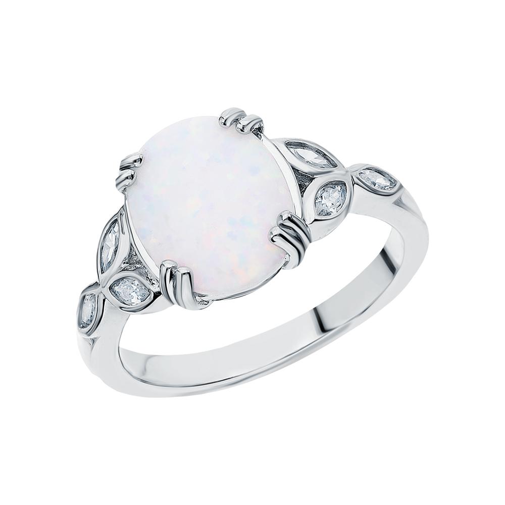 Фото «Серебряное кольцо с фианитами и опалами»
