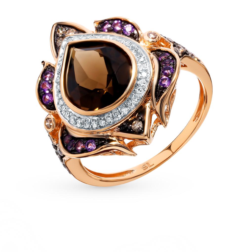 Золотое кольцо с коньячными бриллиантами, аметистами и раухтопазом