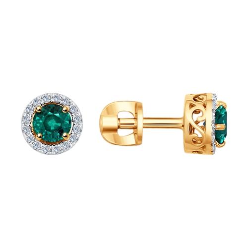 Фото «Золотые серьги с изумрудами и бриллиантами SOKOLOV 3020432»