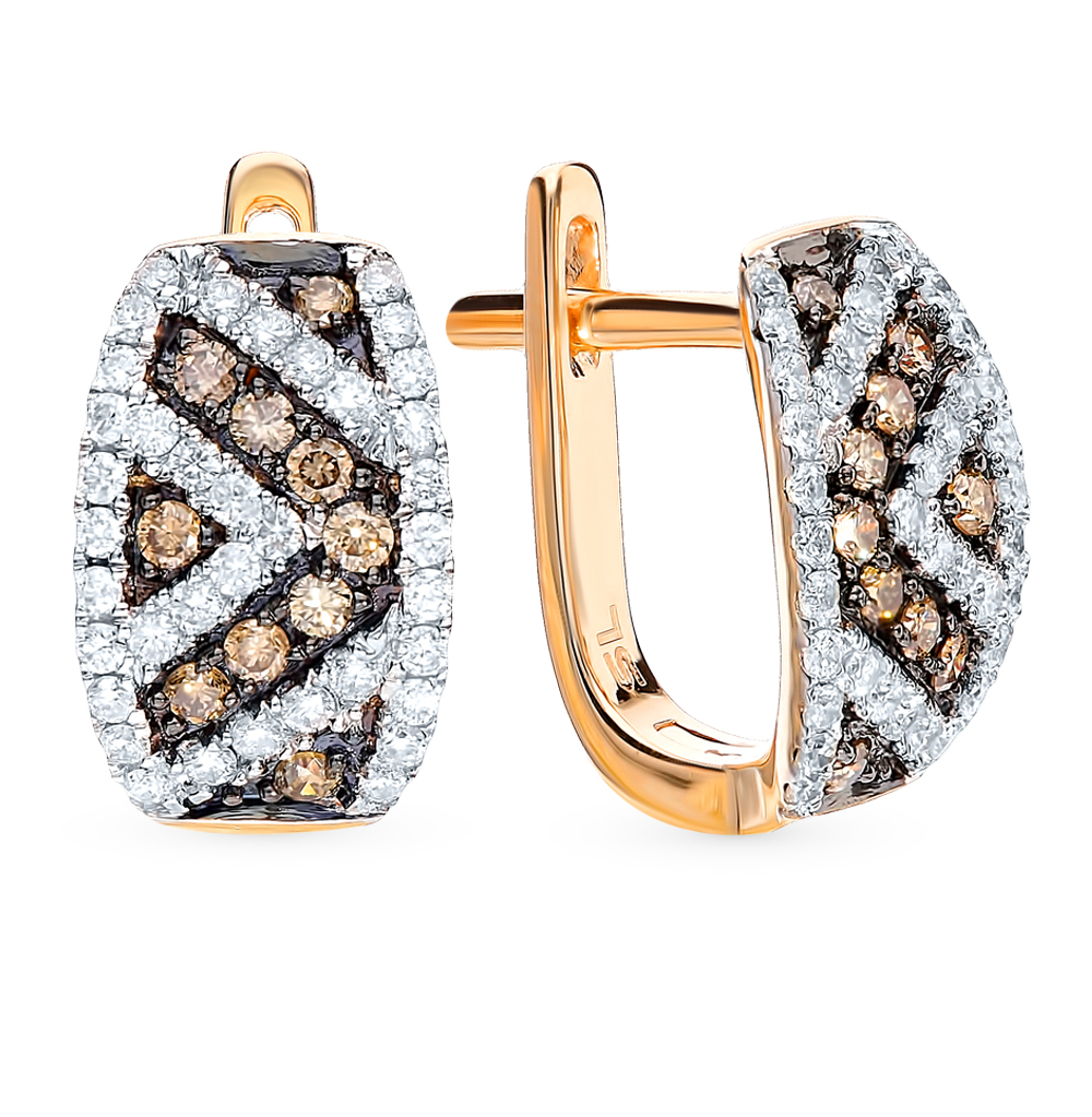 Золотые серьги с коньячными бриллиантами в Екатеринбурге