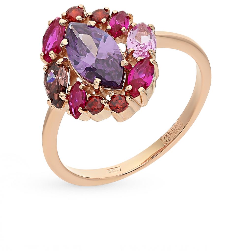 Фото «Золотое кольцо с родолитами, аметистом и корундом»