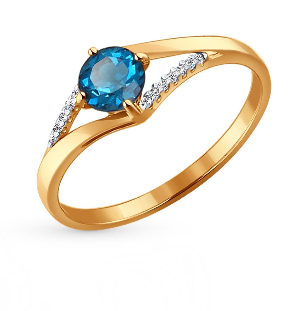 золотое кольцо с топазами и фианитами SOKOLOV 714119*