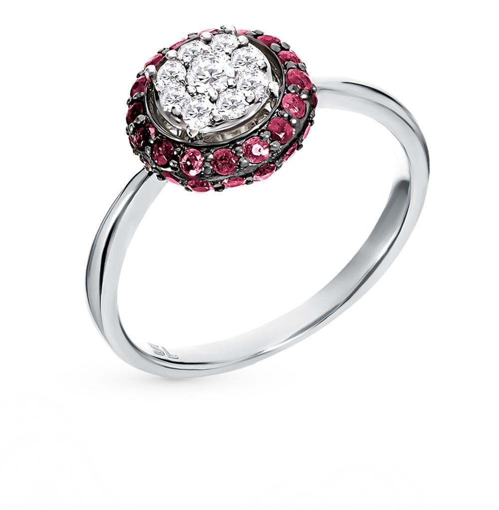 золотое кольцо с рубинами и бриллиантами