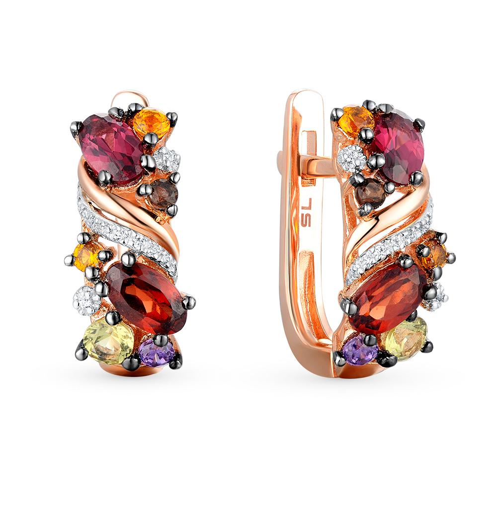 Фото «Золотые серьги с хризолитом, раухтопазами, аметистом, гранатом, цитринами и бриллиантами»