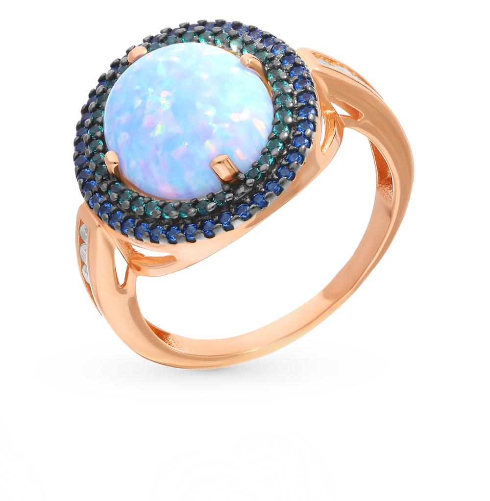 серебряное кольцо с нанокристаллами, сапфирами, фианитами, изумрудами и опалами