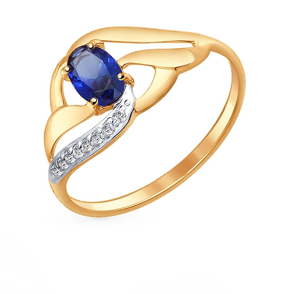 золотое кольцо с корундом и фианитами SOKOLOV 714648*