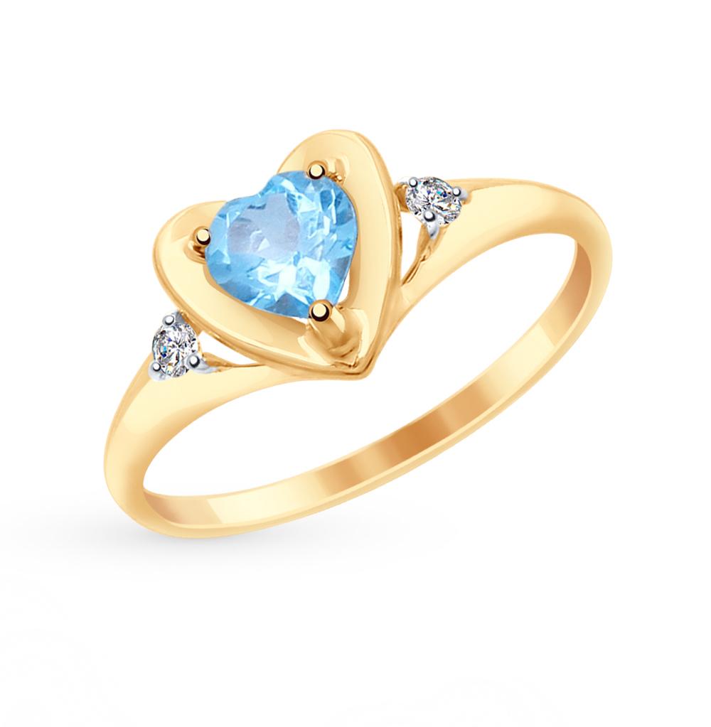 золотое кольцо с топазами и фианитами SOKOLOV 715042*