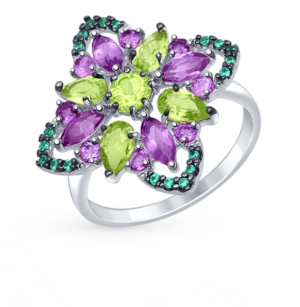 серебряное кольцо с хризолитом, аметистом и фианитами SOKOLOV 92011334