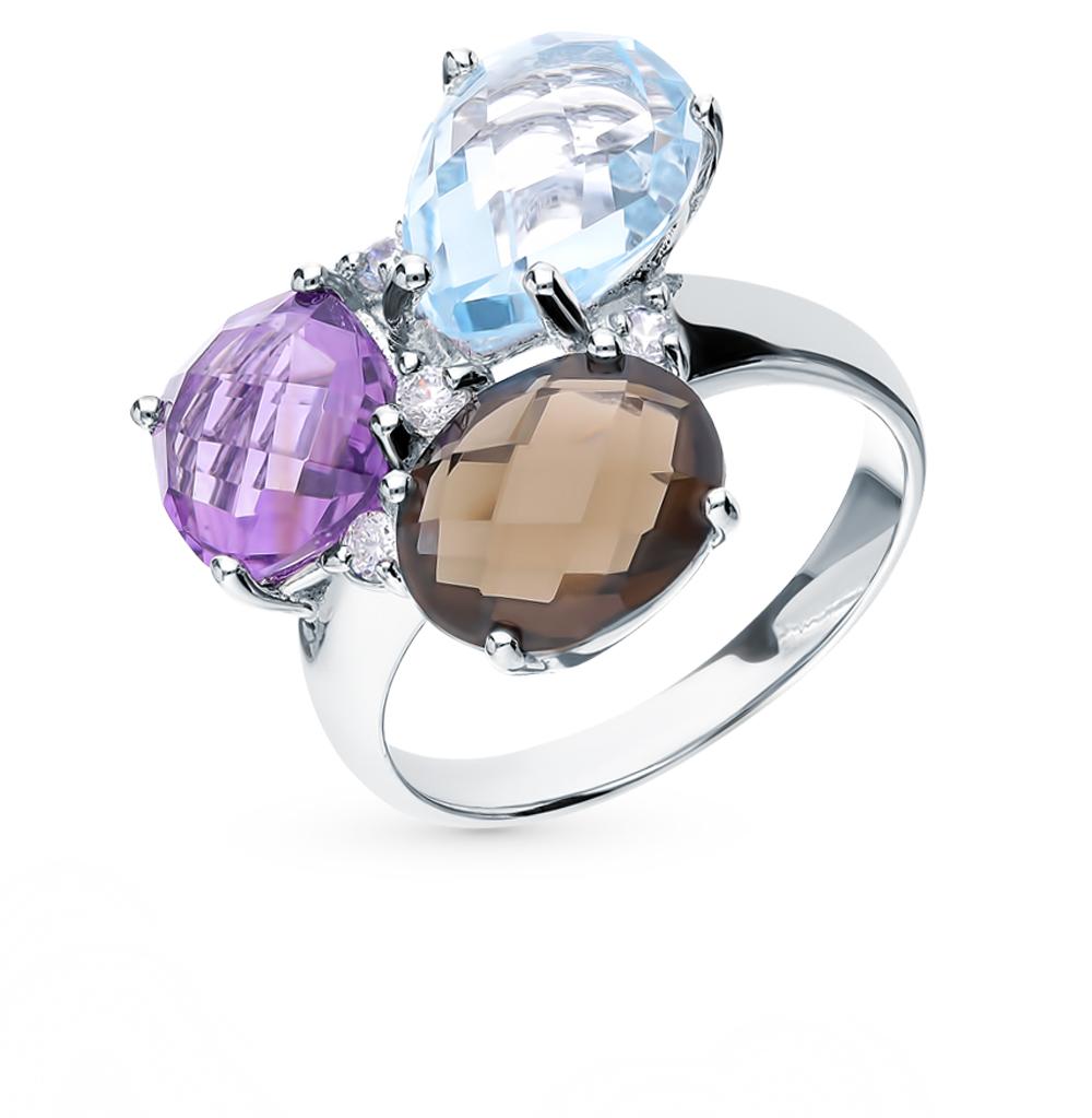 Фото «Серебряное кольцо с раухтопазами, топазами и фианитами»