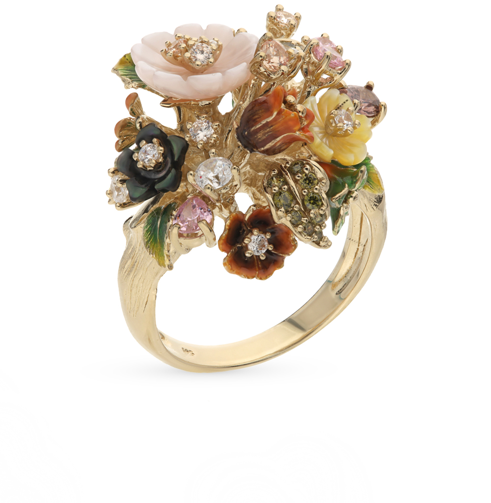 серебряное кольцо с фианитами, перламутром и эмалью