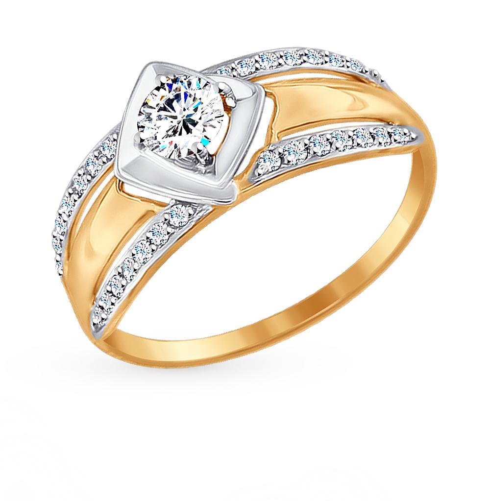 золотое кольцо с фианитами SOKOLOV 017440*