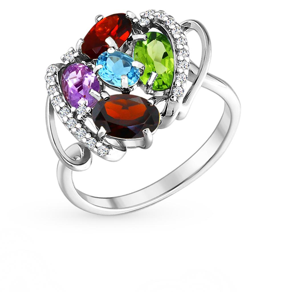 серебряное кольцо с топазами, фианитами и гранатом SOKOLOV 92010489