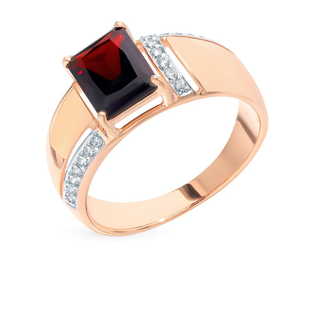 золотое кольцо с фианитами и гранатом SOKOLOV 714857*