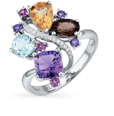 Фото «золотое кольцо с аметистом, гранатом, цитринами, топазами и бриллиантами»