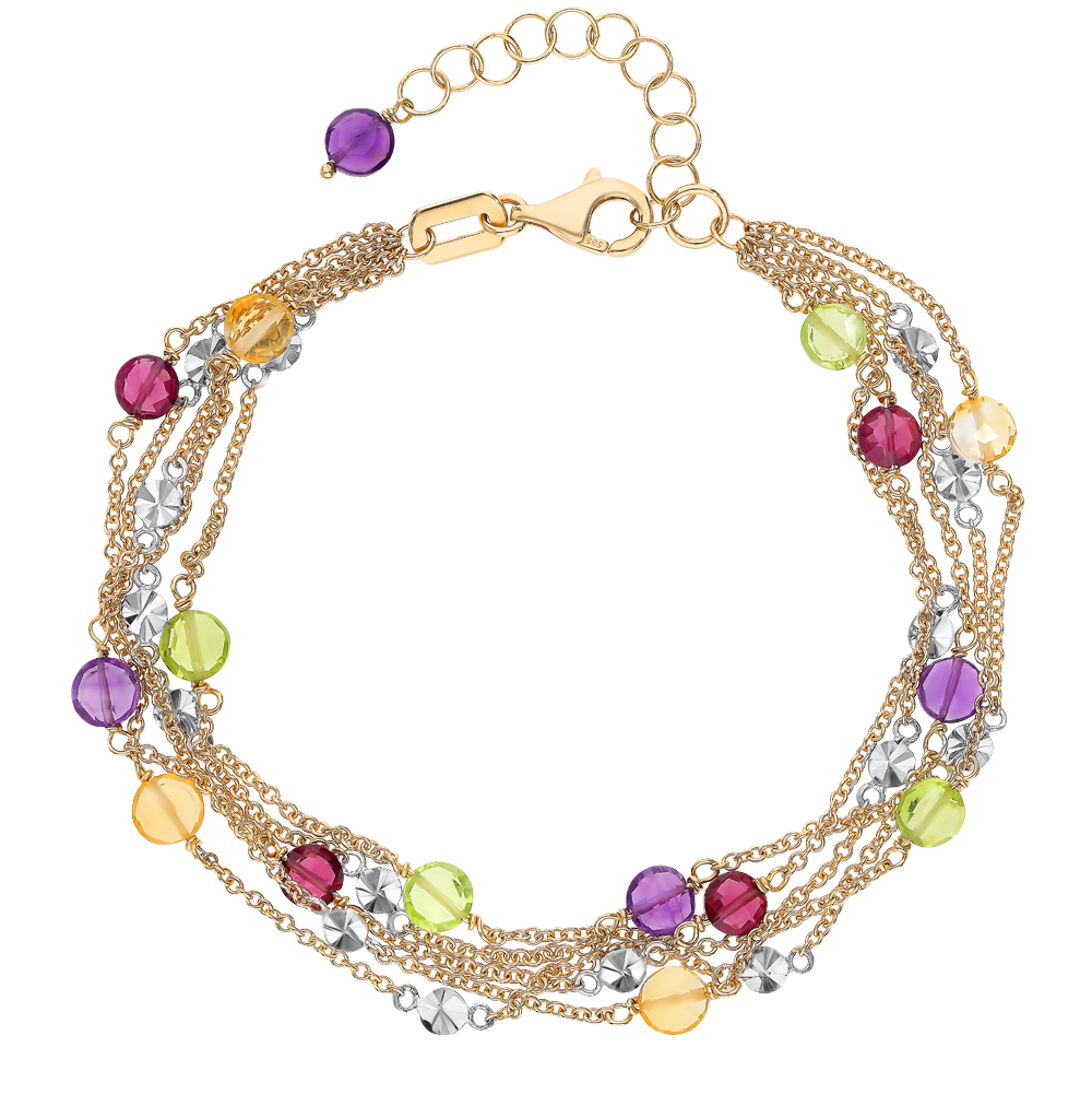 Фото «Золотой браслет с родолитами, хризолитом, аметистом и цитринами»