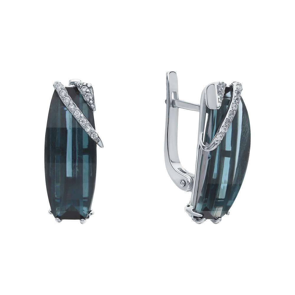 Фото «Серебряные серьги с кварцем и фианитами»