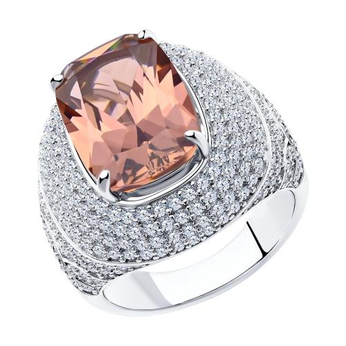 Фото «Серебряное кольцо с фианитами и ситаллами SOKOLOV 94014561»
