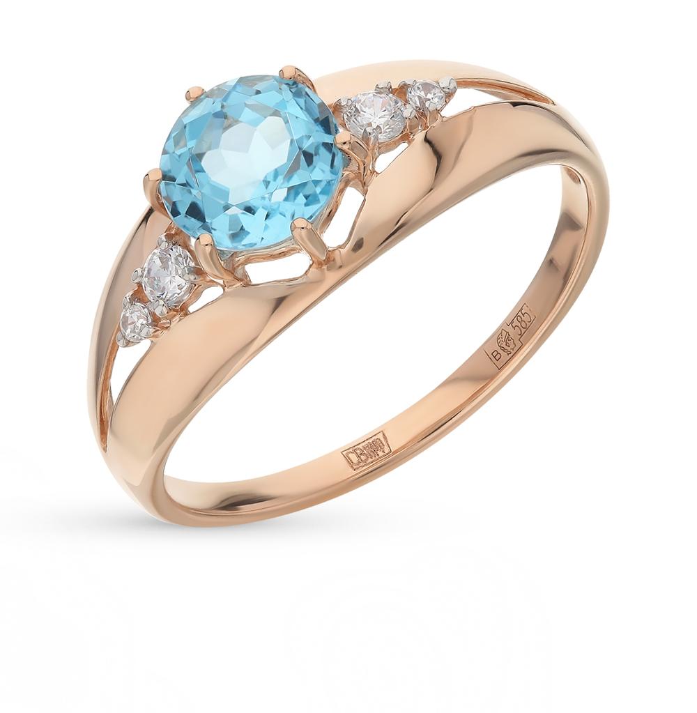 Фото «Золотое кольцо с топазами и фианитами SOKOLOV 714438*»