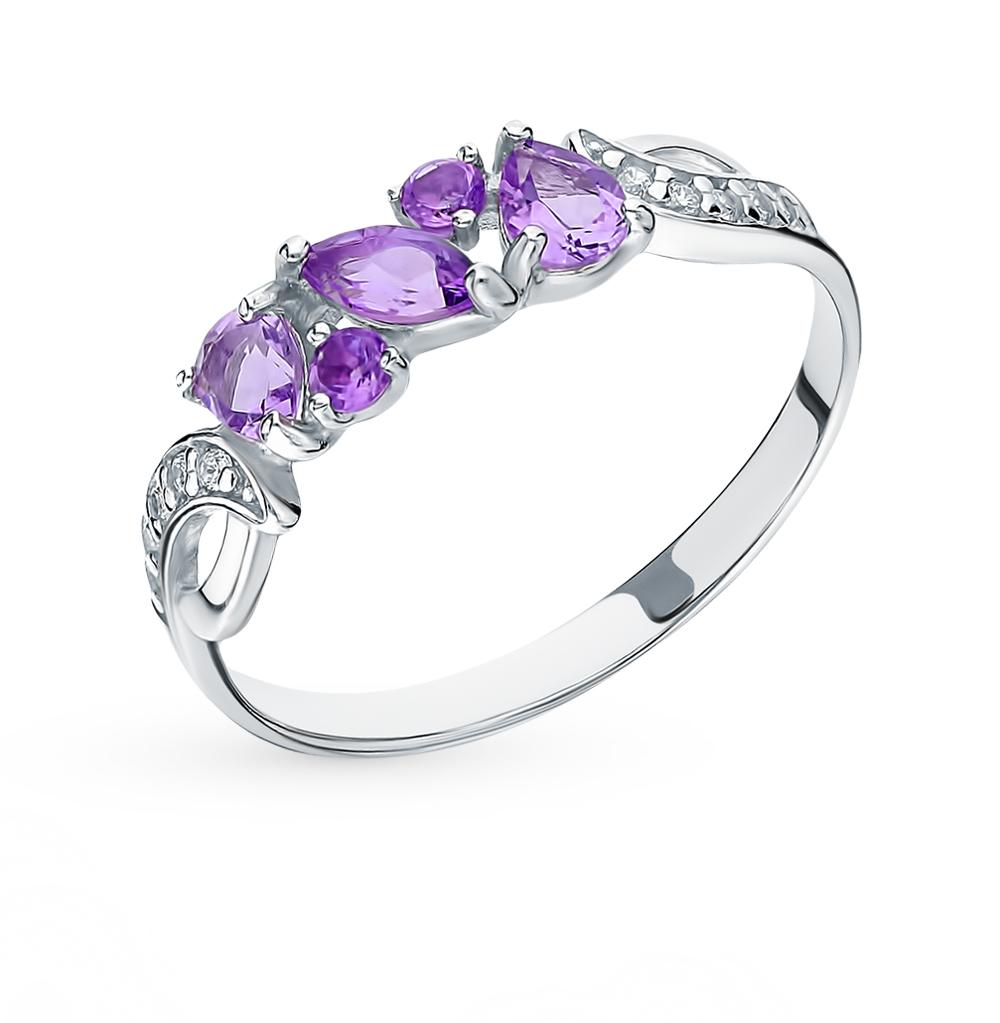 серебряное кольцо с аметистом и фианитами SOKOLOV 92011593