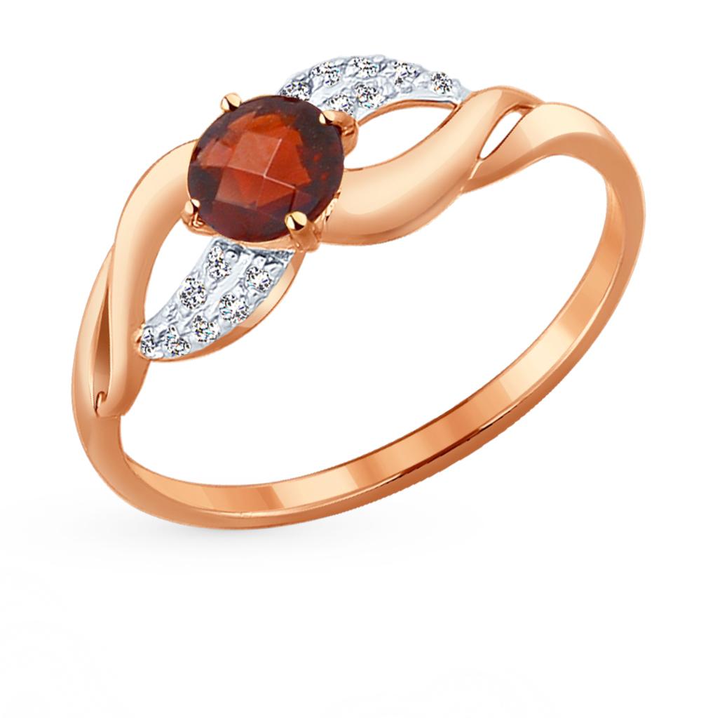 Фото «Золотое кольцо с фианитами и гранатом SOKOLOV 714204*»