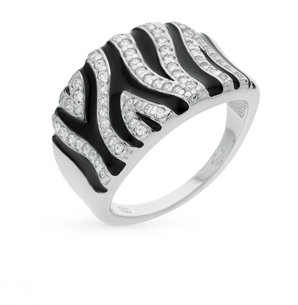 Фото «серебряное кольцо с фианитами и эмалью»
