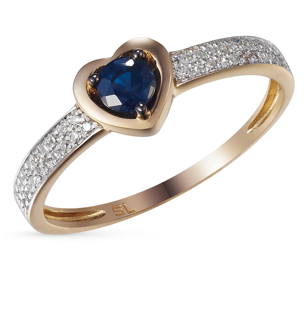 Картинка золотое кольцо с сапфиром