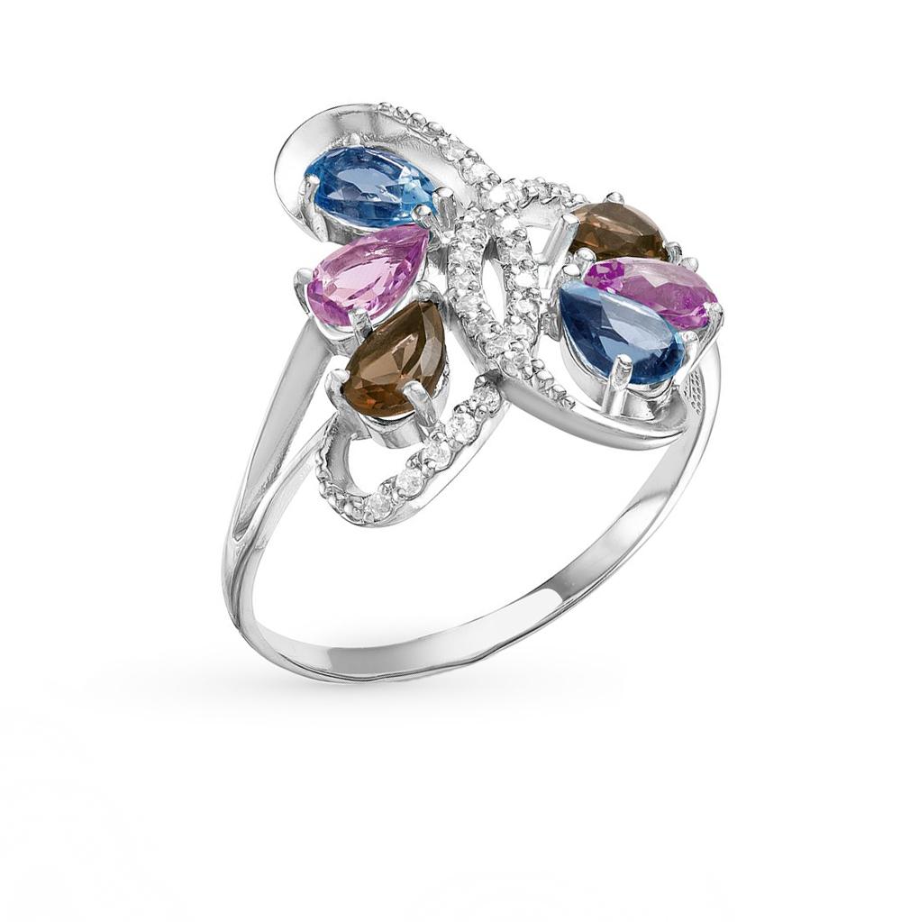 Фото «серебряное кольцо с аметистом, топазами, фианитами, родолитами и раухтопазами (кварцами дымчатый)»