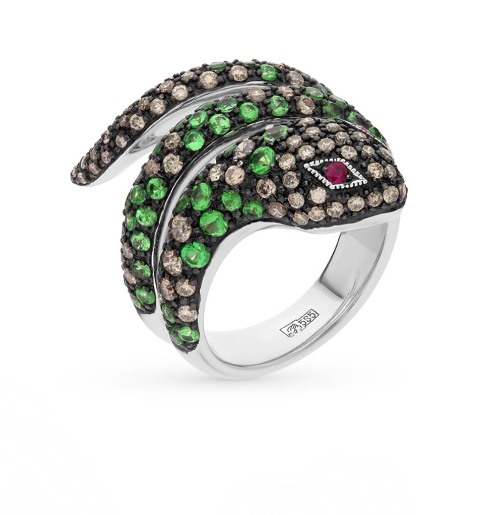 Фото «золотое кольцо с коньячными бриллиантами, гранатом и рубинами»