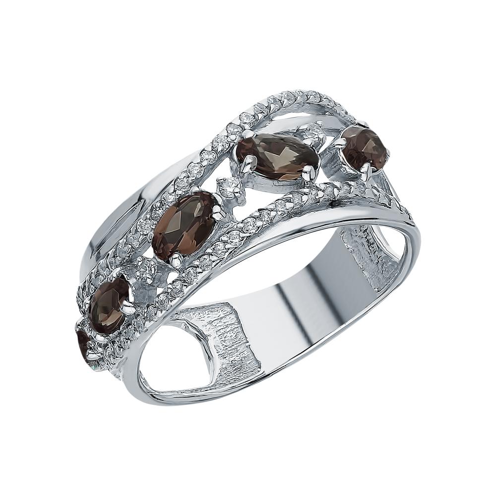 Серебряное кольцо с раухтопазами в Екатеринбурге