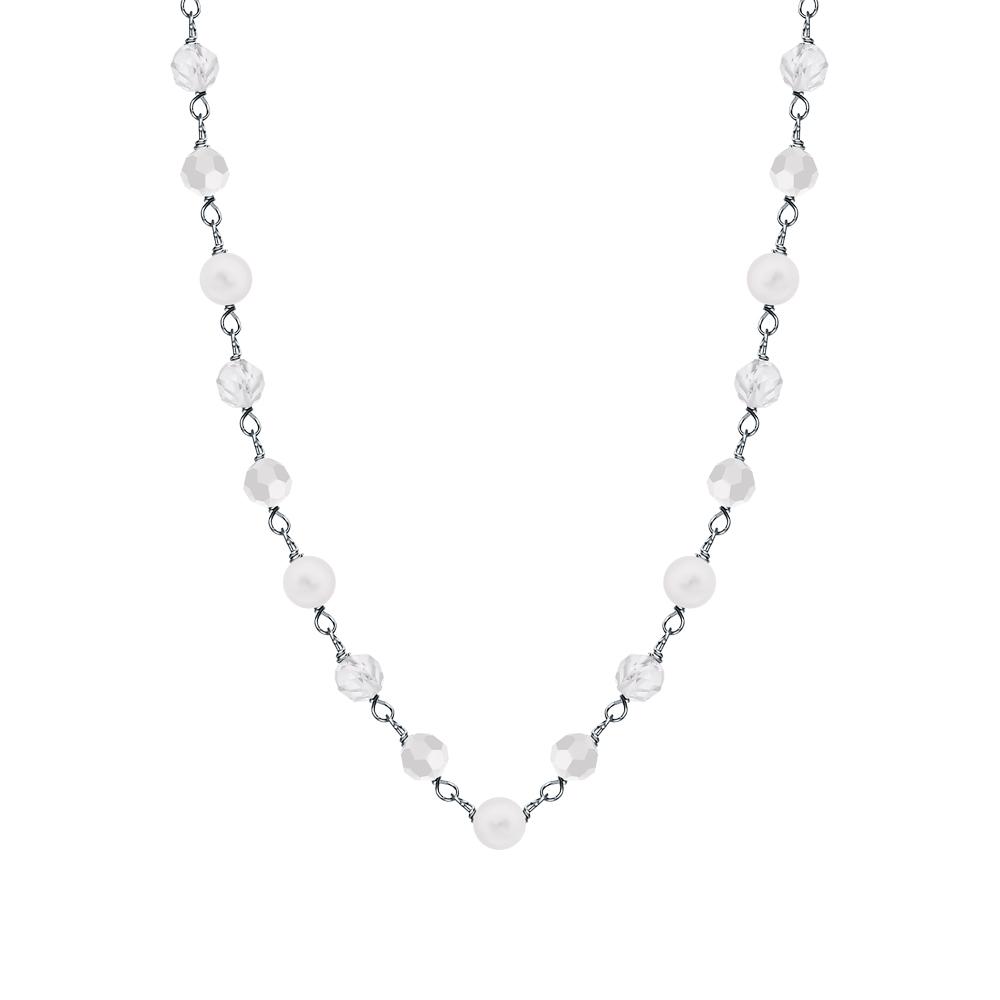 Фото «Серебряное шейное украшение с жемчугом, лунным камнем и топазами»
