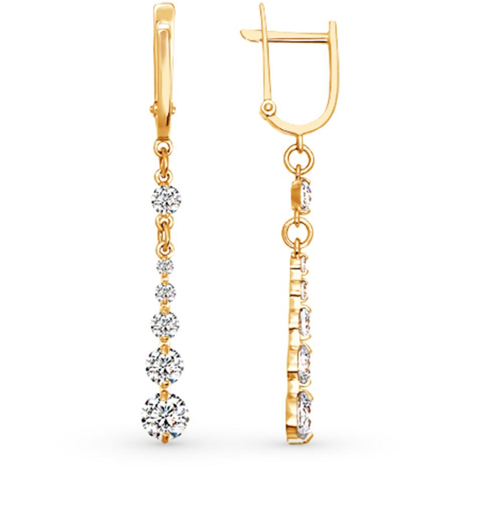 золотые серьги с кристаллами swarovski SOKOLOV 81020012*
