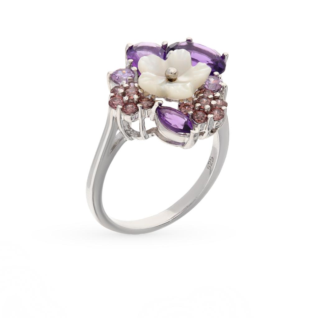 Фото «серебряное кольцо с аметистом, фианитами и перламутром»
