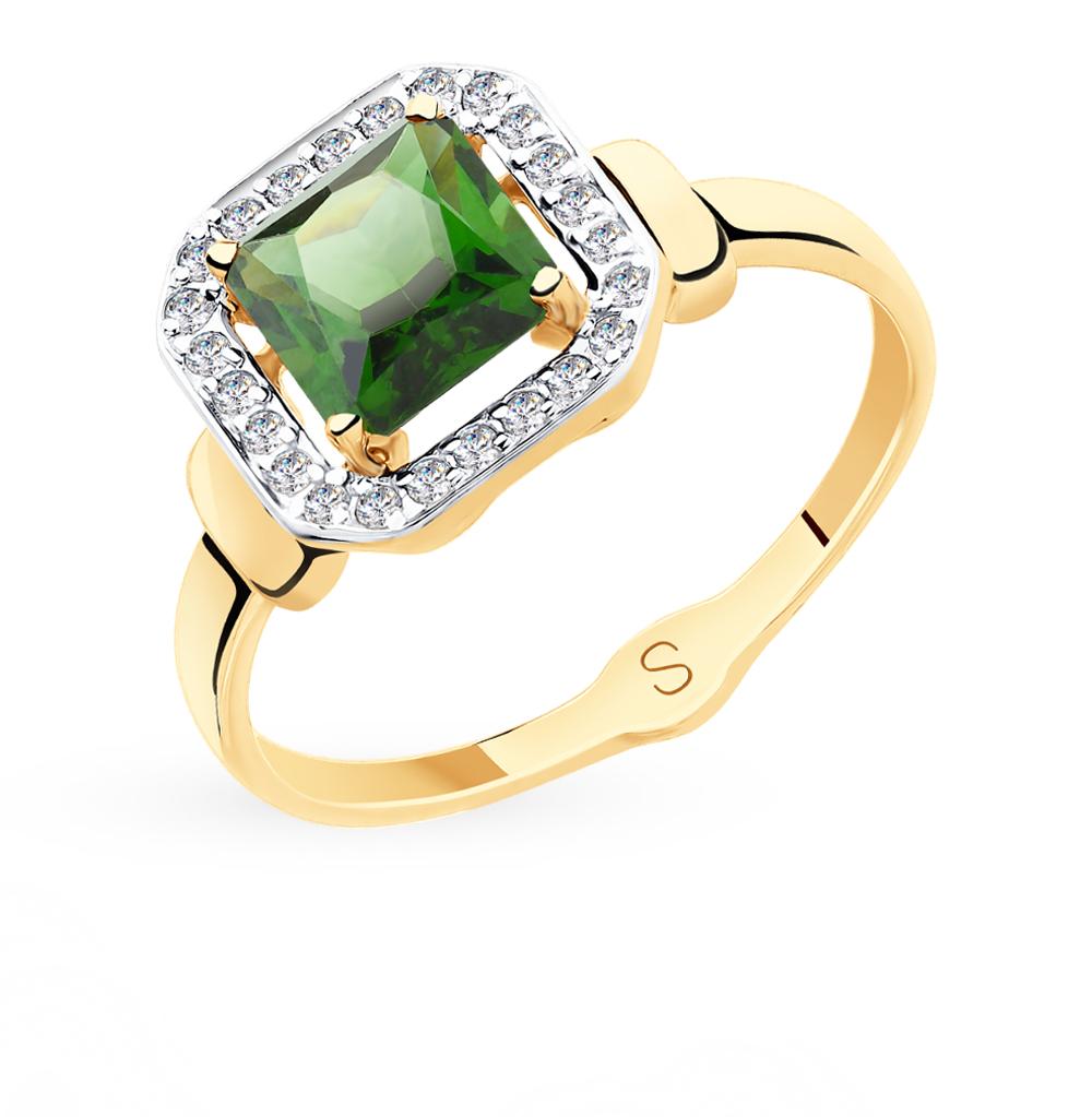Золотое кольцо с фианитами и ситаллом SOKOLOV 715413*