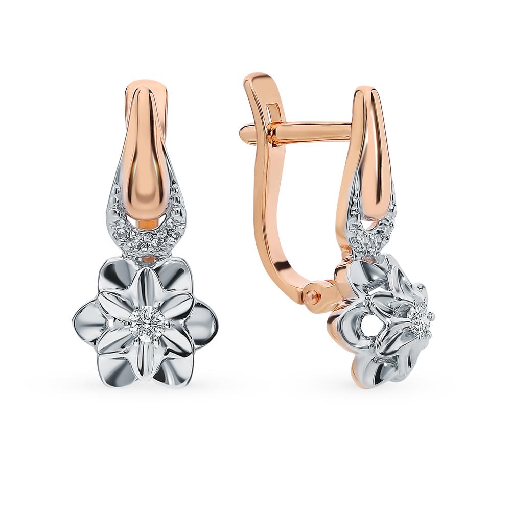 золотые серьги с бриллиантами SOKOLOV 1020886