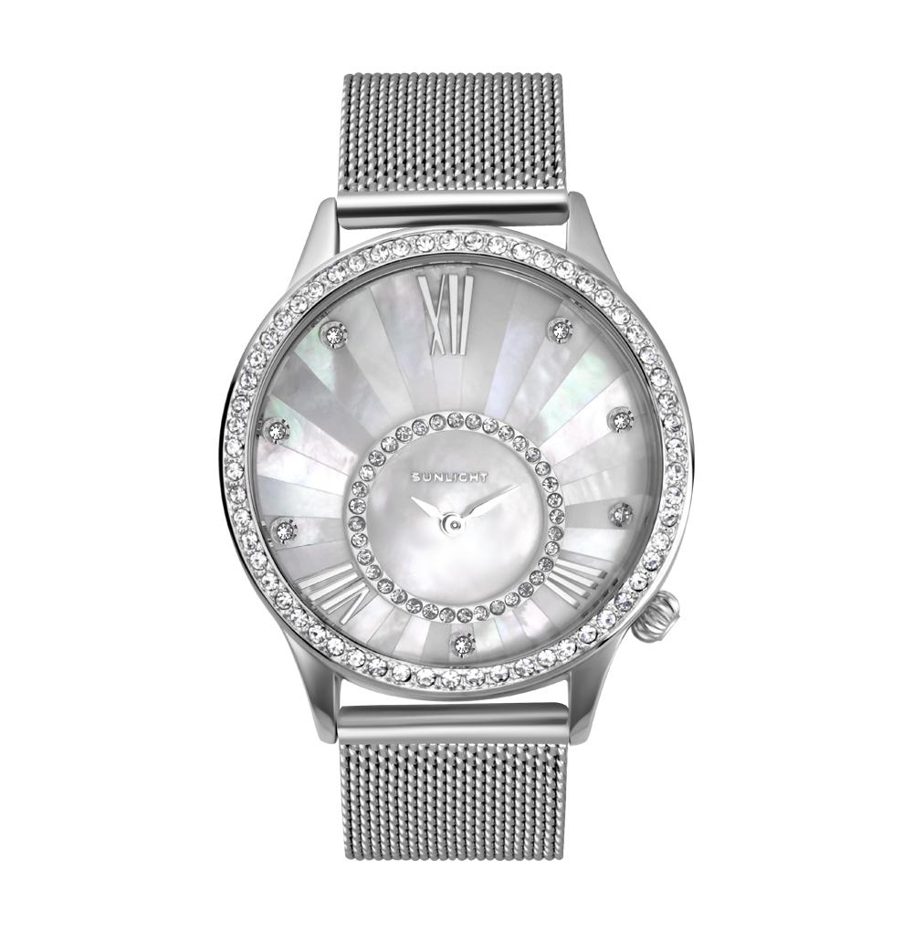 Женские часы с перламутром на миланском браслете