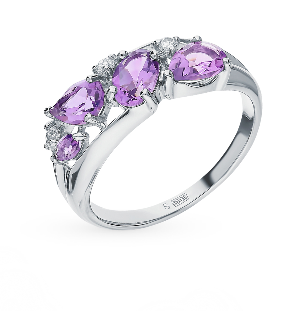 серебряное кольцо с аметистом и фианитами SOKOLOV 92011851