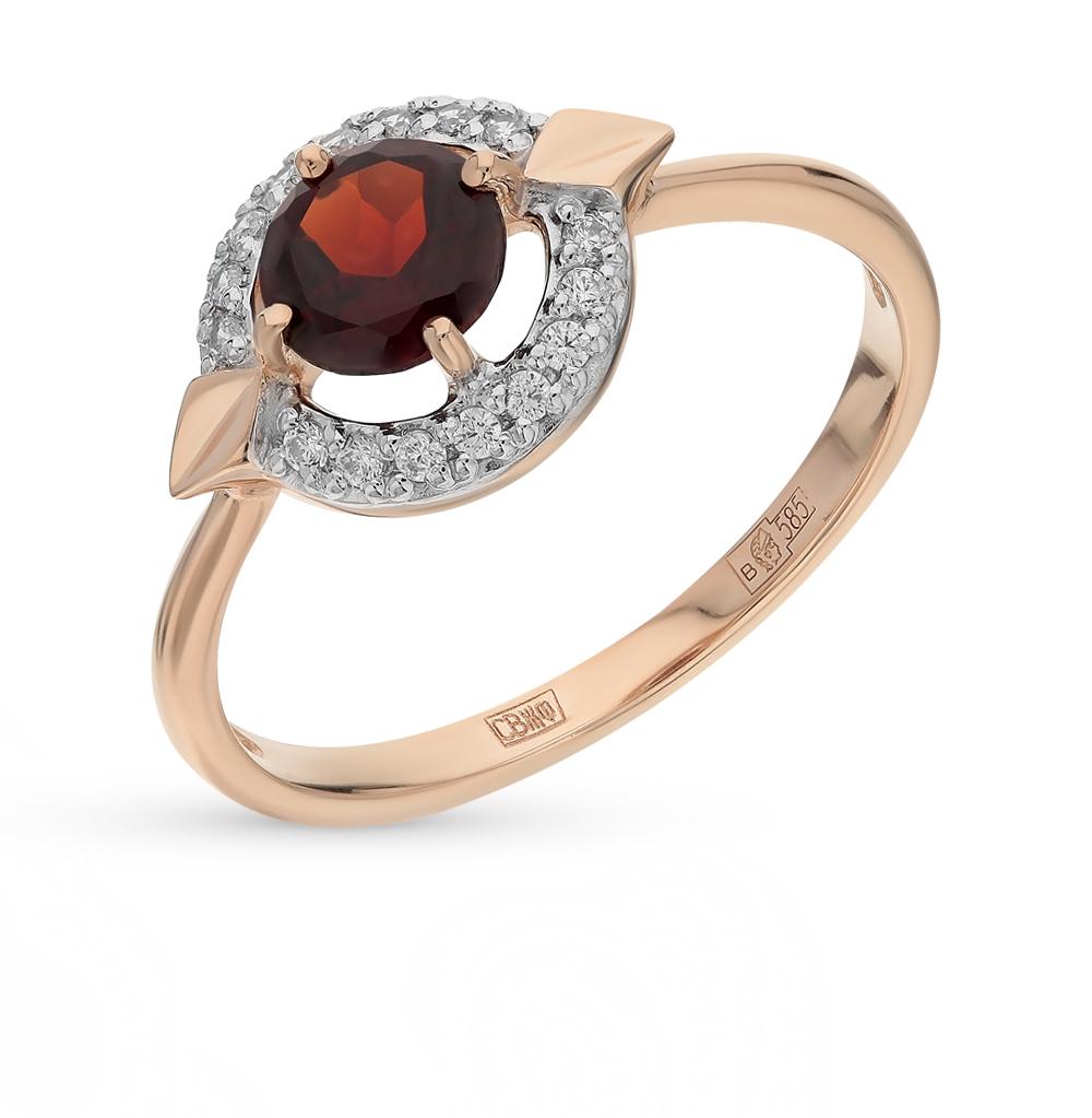 золотое кольцо с фианитами и гранатом SOKOLOV 714455*