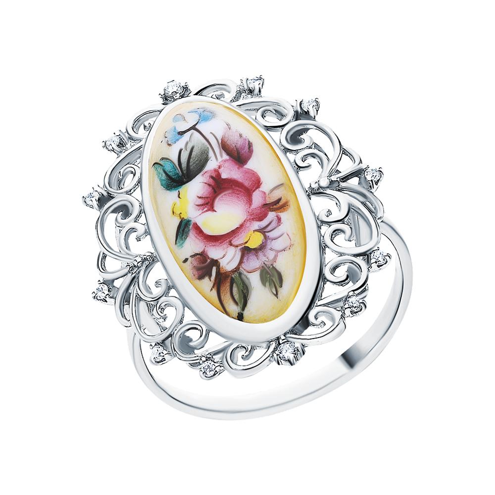 Серебряное кольцо с финифтью и кубическим цирконием в Екатеринбурге