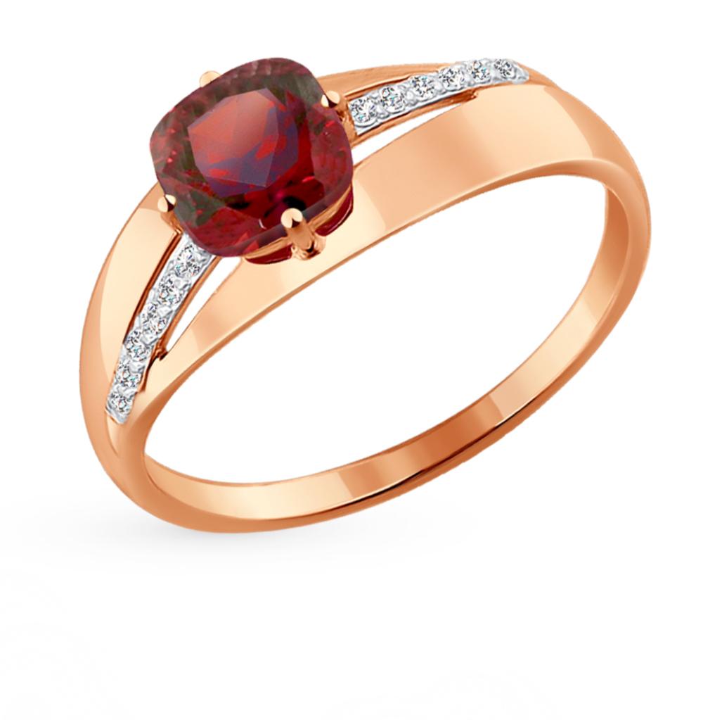 золотое кольцо с фианитами и гранатом SOKOLOV 714218*