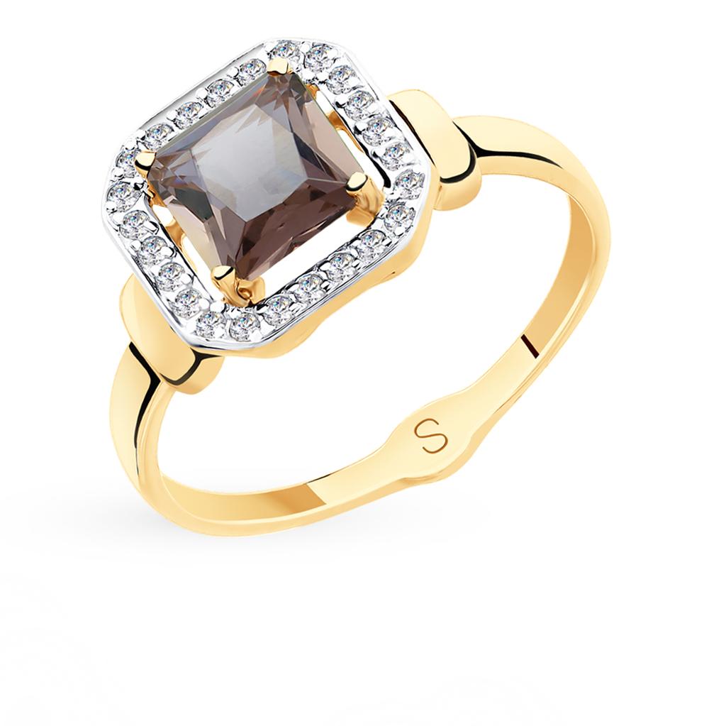 золотое кольцо с фианитами и ситаллами SOKOLOV 715420*
