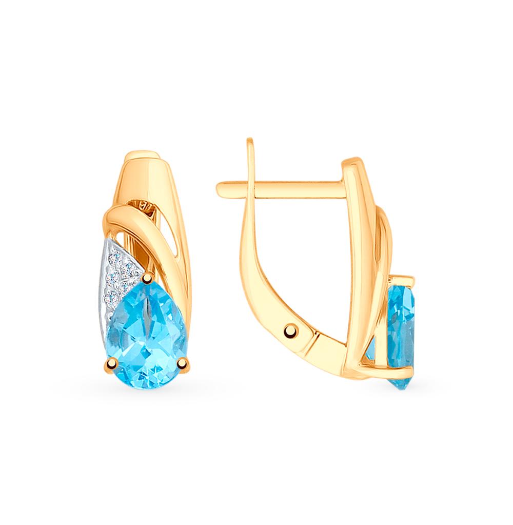 золотые серьги с топазами и фианитами SOKOLOV 725597*