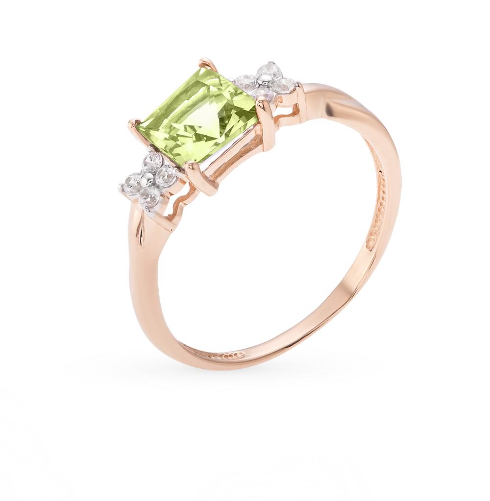 Фото «золотое кольцо с фианитами и хризолитом»
