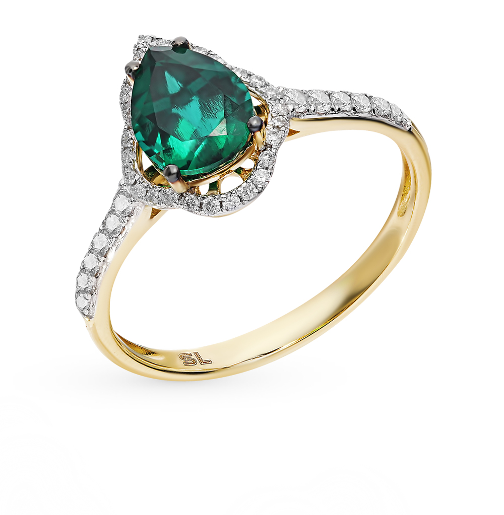 Золотое кольцо с сапфирами, изумрудом и бриллиантами в Санкт-Петербурге