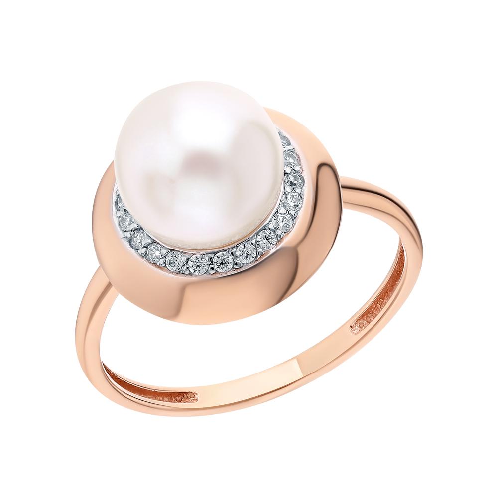 Фото «Золотое кольцо с фианитами и жемчугами культивированными»